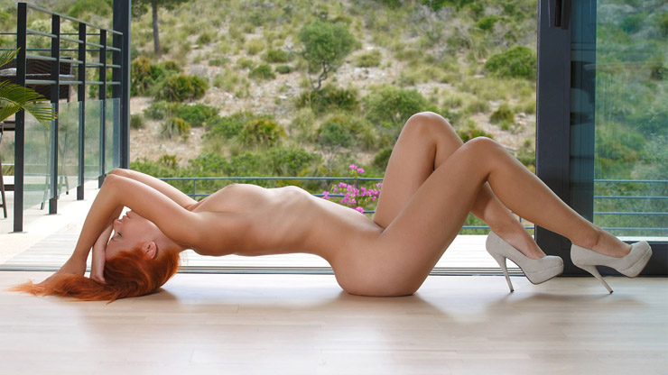 Redhead Nude on the Floor