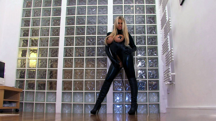 Kinky leather crotchless boots.