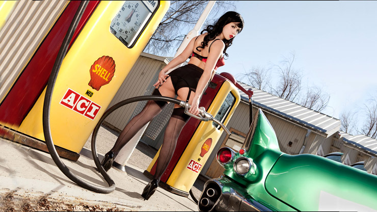 Sexy girl at the pump